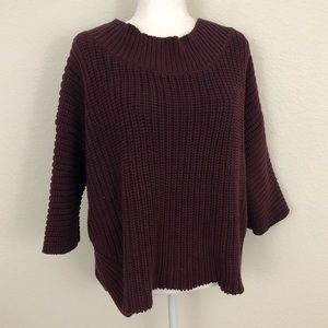 Free People Chunky Knit Oversized Maroon Sweater